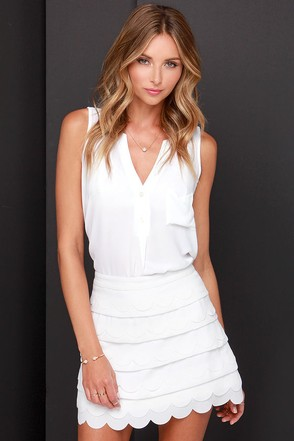Tier'n Up My Heart Ivory Mini Skirt at Lulus.com!