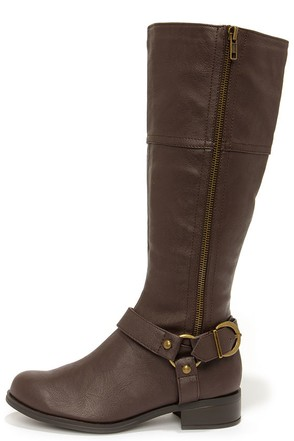 Soda Salsa Black and Gunmetal Harness Riding Boots at Lulus.com!