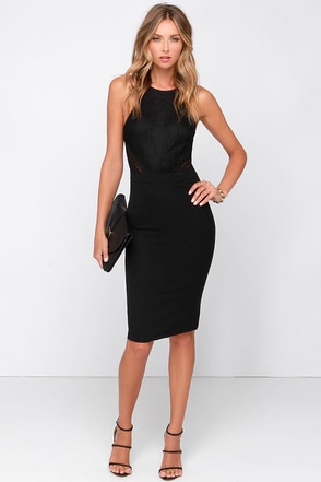 Love Mesh-age Black Lace Midi Dress at Lulus.com!