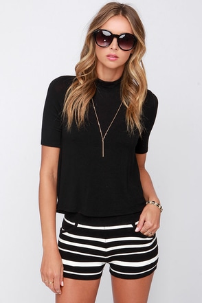 Track Star Black and Ivory Striped Shorts at Lulus.com!