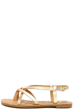 Beach Hopper Gold Strappy Thong Sandals at Lulus.com!