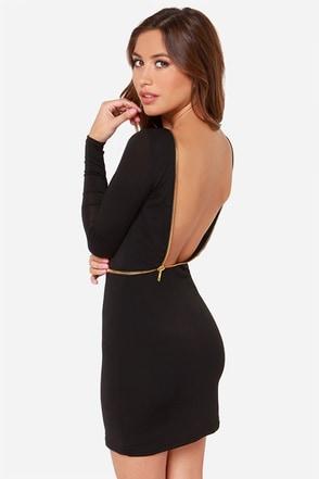 Let Her Zip! Backless Black Dress at Lulus.com!