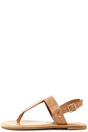 Afternoon T Tan Lizard Thong Sandals at Lulus.com!
