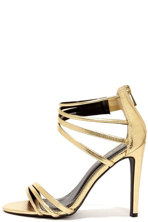 Pretty Does Gold Lizard Dress Sandals at Lulus.com!
