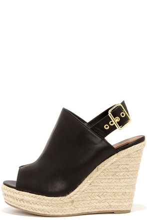 Dockin' Out Black Peep Toe Espadrille Wedges at Lulus.com!