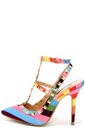 Party Trick Pastel Multi Striped and Studded Pointed Heels at Lulus.com!