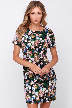 For Love or Monet Black Floral Print Dress at Lulus.com!