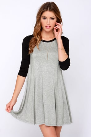 Swing Batter Batter Black and Grey Swing Dress at Lulus.com!