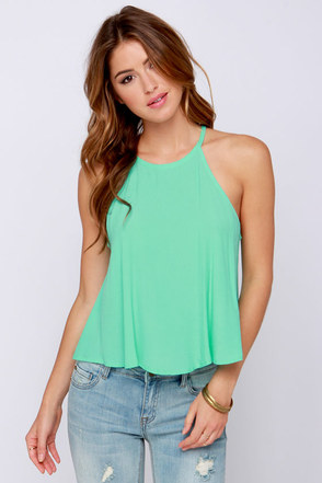 Halter-ior Motive Mint Crop Top at Lulus.com!