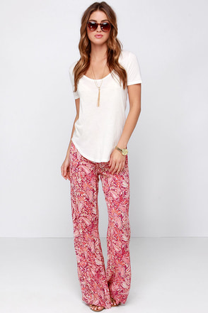 Billabong Midnight Hour Red Paisley Print Pants at Lulus.com!