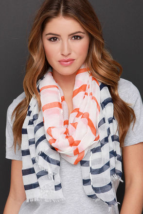 Say It in French Blue and Orange Striped Scarf at Lulus.com!