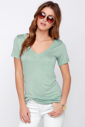 Tonight, V Are Young Sage Green Tee at Lulus.com!