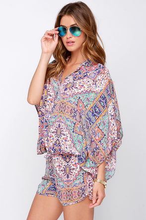 Kimono-it-All Blue and Coral Print Romper at Lulus.com!