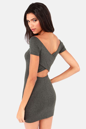 Show Off-the-Shoulder Cutout Grey Dress