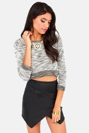 Static Waves Black and Ivory Crop Sweater