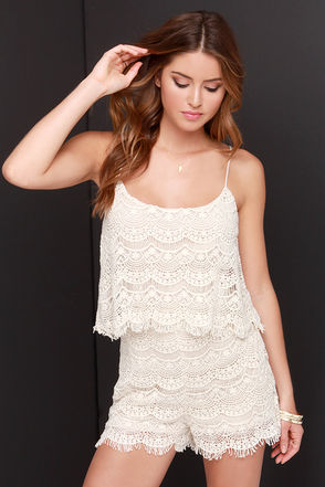 Fray Spirit Cream Lace Romper at Lulus.com!
