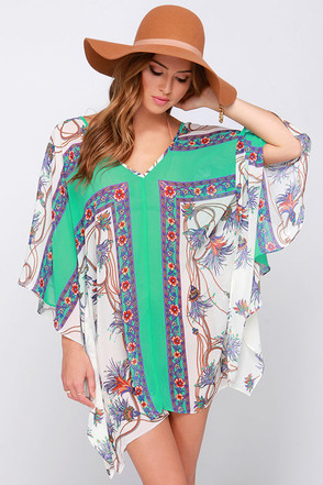 A La Playa Sea Green Print Cover-Up at Lulus.com!
