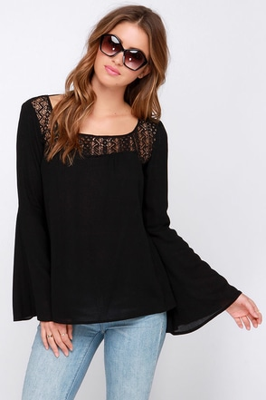 Bell Tolls Black Lace Top at Lulus.com!