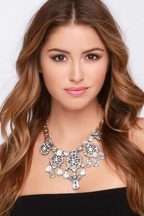 Charms Around You Gold Rhinestone Statement Necklace at Lulus.com!