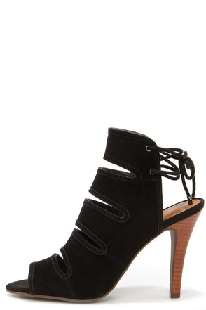 Seychelles Play Along Black Suede Lace-Back Shootie Heels at Lulus.com!