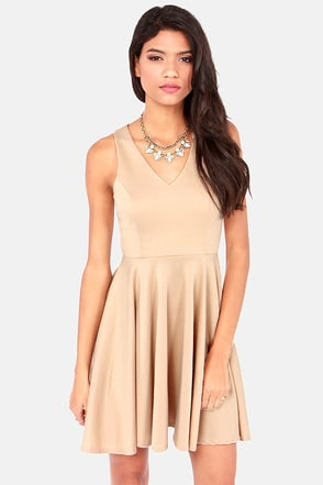 Crisscross The Line Beige Dress