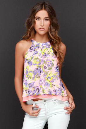 Something in the Sway Coral Floral Print Halter Top at Lulus.com!