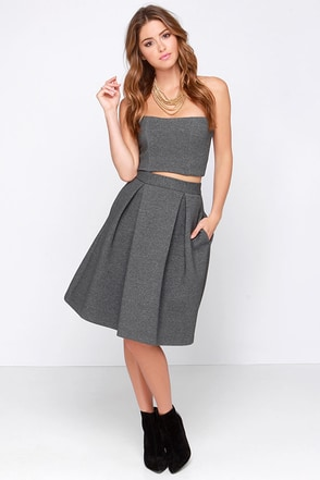 Right Flair Grey Midi Skirt at Lulus.com!