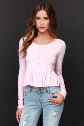 Ruffle of Surprises Blush Pink Long Sleeve Crop Top at Lulus.com!