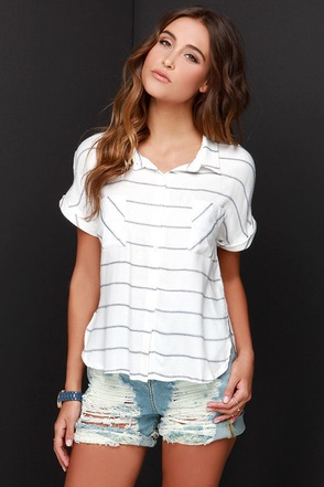 Top of the Morning Black and Ivory Striped Button-Up Top at Lulus.com!