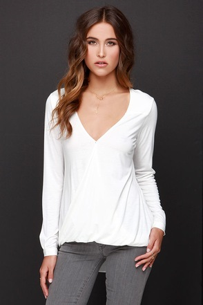 In the Loop Ivory Long Sleeve Top at Lulus.com!