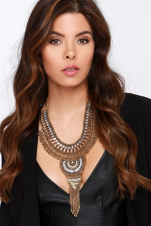 Cirque de Chic Gold Statement Necklace at Lulus.com!
