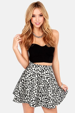 Leopard-y Animal Silver and Black Brocade Skirt