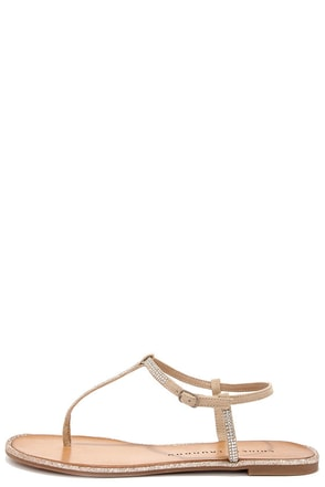 Chinese Laundry Glitterati Beige Rhinestone Thong Sandals at Lulus.com!