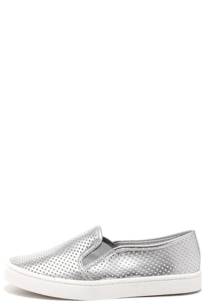 Report Arvon White Perforated Slip-On Sneakers at Lulus.com!