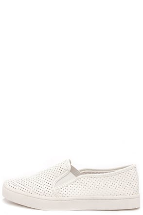 Report Arvon Silver Perforated Slip-On Sneakers at Lulus.com!