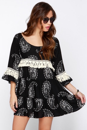 Lucy Love Vacation Forever Cream and Black Print Dress at Lulus.com!