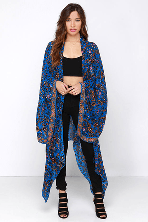 Amuse Society Brooklyn Blue Print Kimono Top at Lulus.com!