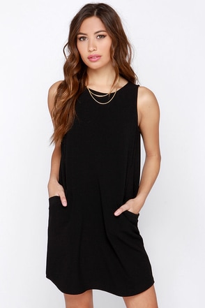 Jack by BB Dakota Lief Black Shift Dress at Lulus.com!