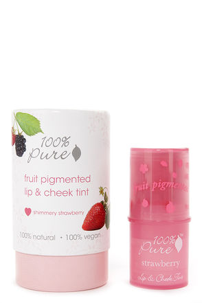 100% Pure Shimmery Strawberry Fruit Pigmented Lip & Cheek Tint at Lulus.com!