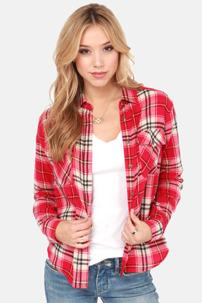 Not Half Plaid Beige and Red Plaid Flannel Top