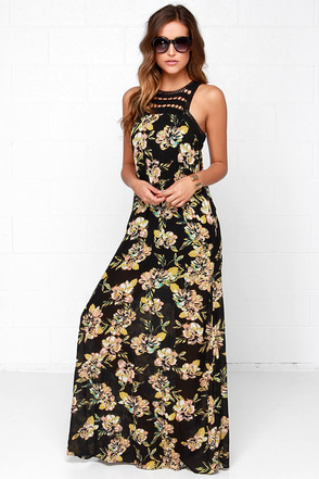 O'Neill Moore Black Floral Print Maxi Dress at Lulus.com!