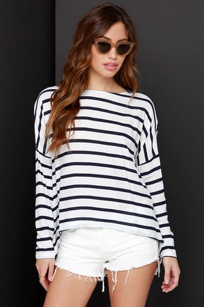 BB Dakota Hannelore Navy Blue and Ivory Striped Top at Lulus.com!