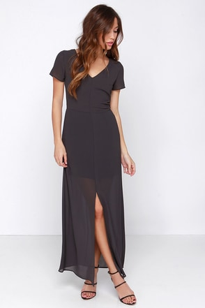 Gown with the Wind Charcoal Grey Maxi Dress at Lulus.com!