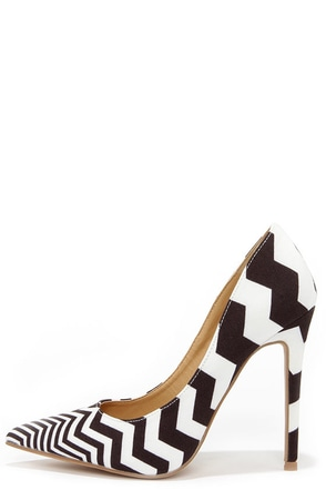 VIP Lines Black and White Striped Pointed Pumps at Lulus.com!