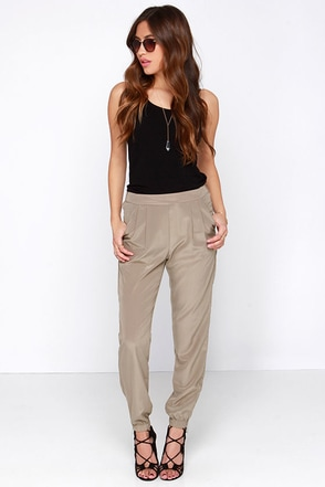 All About It Taupe Jogger Pants at Lulus.com!
