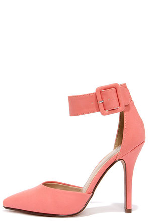 My Delicious Aveta Salmon Ankle Strap Heels at Lulus.com!