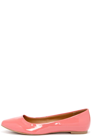 City Classified Sadler Salmon Patent Pointed Flats at Lulus.com!