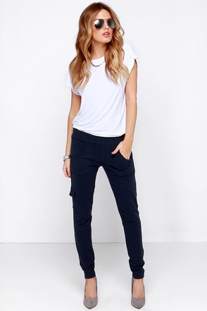 BB Dakota Anza Navy Blue Jogger Pants at Lulus.com!