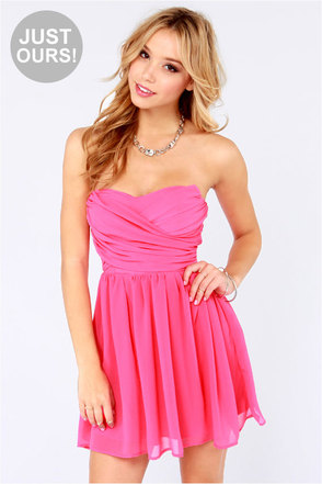 LULUS Exclusive Sash Flow Strapless Candy Pink Dress