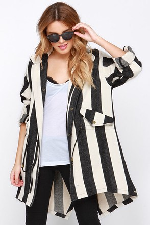 Line and Dot Equilibrium Cream and Black Striped Jacket at Lulus.com!